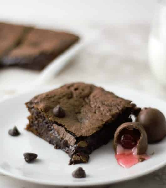 Chocolate Covered Cherry Cordial Brownies Small Batch Recipe - romantic dessert!