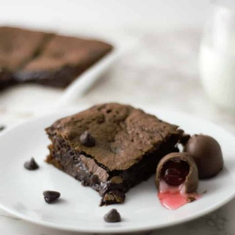 Chocolate Covered Cherry Cordial Brownies Small Batch Recipe - makes 4 brownies