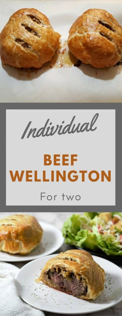Individual Beef Wellington for Two #BeefWellington #Beef #DinnerForTwo #ValentinesDay #Christmas #NewYearsEve #RecipesForTwo #PuffPastry