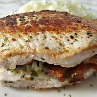 Smoked Gouda and Bacon Stuffed Pork Chops Recipe for Two