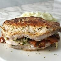 Smoked Gouda and Bacon Stuffed Pork Chops Recipe for Two - low carb serves 2