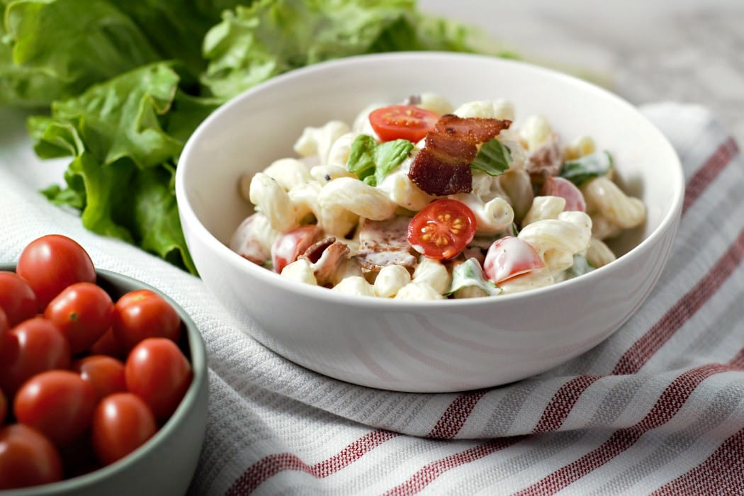 best ever BLT Macaroni Salad for two with bacon, lettuce, tomato, and pasta
