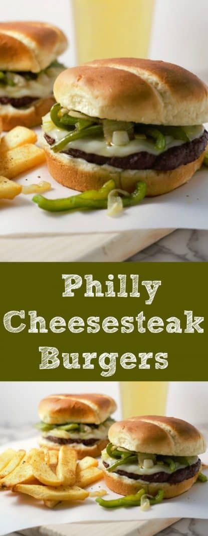 Philly Cheesesteak Burgers for Two #PhillyCheesesteak #burgers #hamburgers #beef #DinnerForTwo #LunchForTwo #RecipesForTwo #datenight #gameday