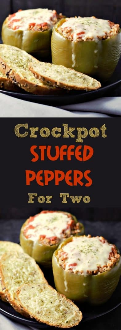Crockpot Stuffed Peppers for Two  #crockpot #slowcooker #StuffedPeppers #beef #DinnerForTwo #LunchForTwo #RecipesForTwo