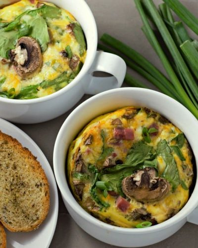 Baked Cheesy Ham Spinach Omelettes