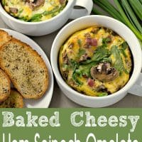 Baked Cheesy Ham Spinach Omelets Recipe for Two