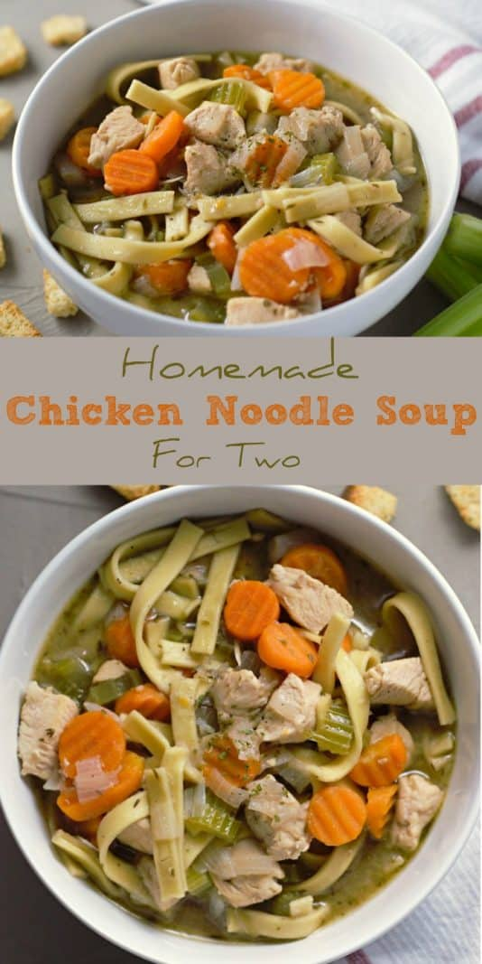 Homemade Chicken Noodle Soup for Two #ChickenNoodleSoup #homemade #soup #DinnerForTwo #LunchForTwo #RecipesForTwo #chicken