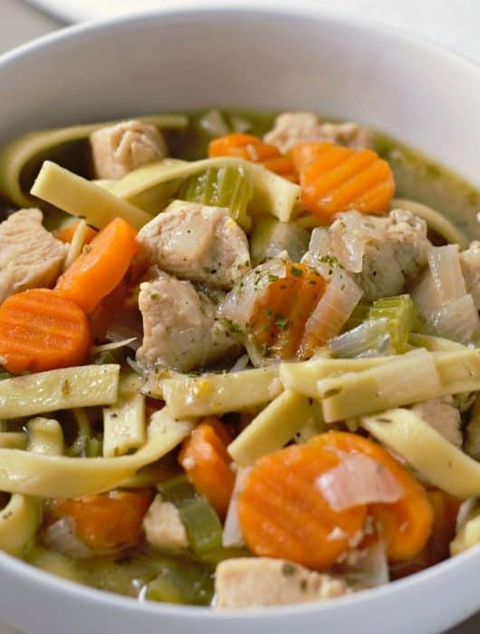 front view of homemade chicken noodle soup in a bowl