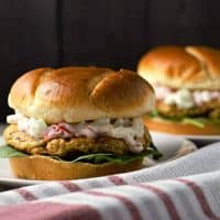 a close up of two salmon burgers on plates