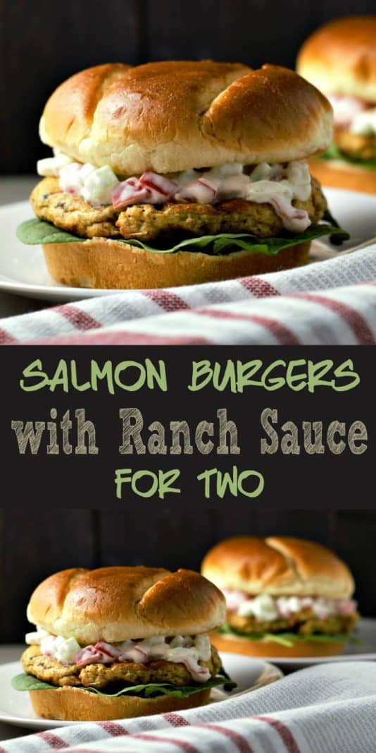Salmon Burgers with Ranch Sauce for Two