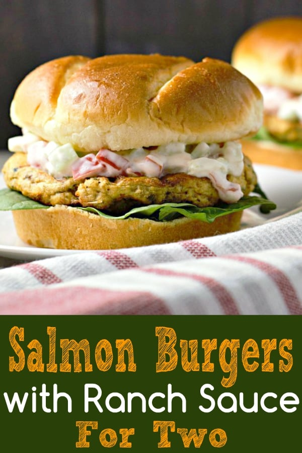 Salmon Burgers with Ranch Sauce Recipe for Two