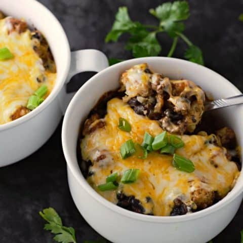 Taco Tater Tot Casserole for Two in baking dishes