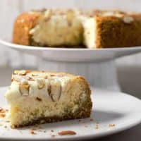 White Chocolate Almond Amaretto Cheesecake
