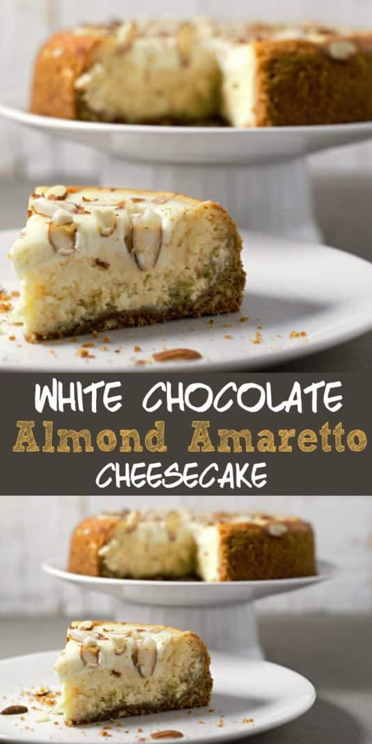 White Chocolate Almond Amaretto Cheesecake Small Batch  #cheesecake #SmallBatch #DessertForTwo #RecipesForTwo #Amaretto #WhiteChocolate #dessert
