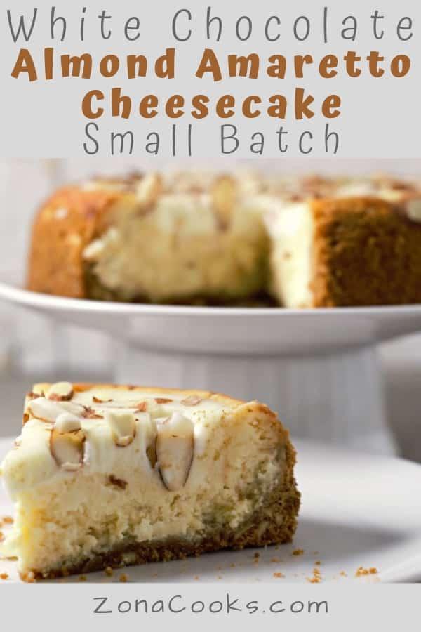 White Chocolate and Almond Amaretto Cheesecake Small Batch Recipe