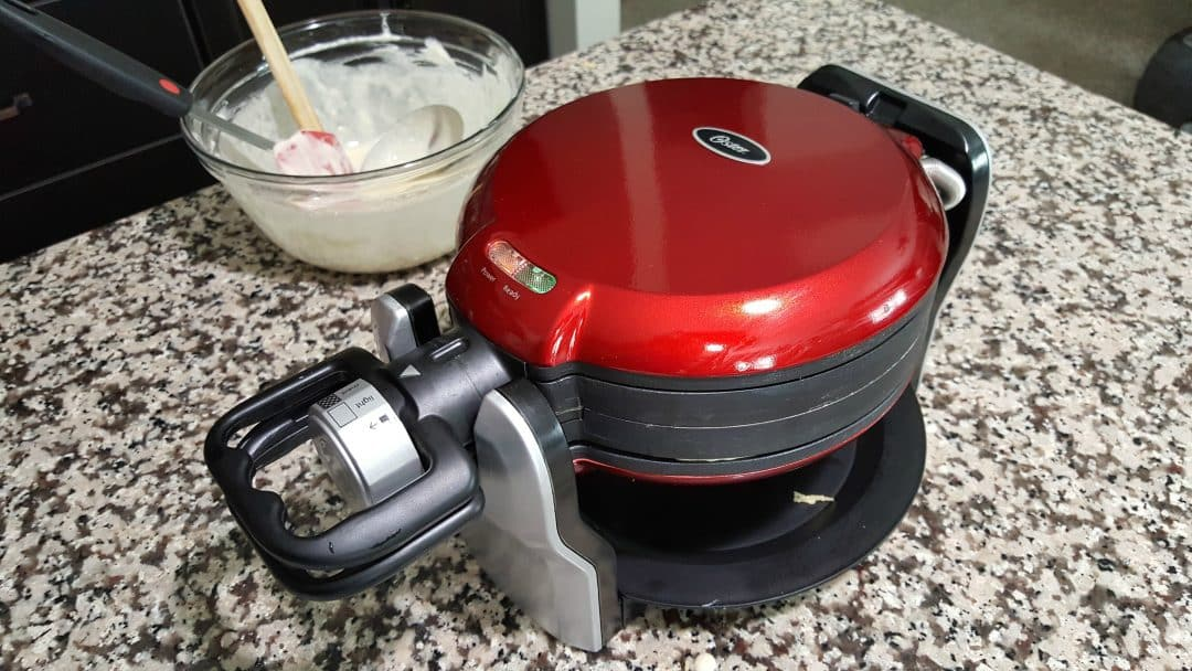 a double-sided waffle maker and waffle batter