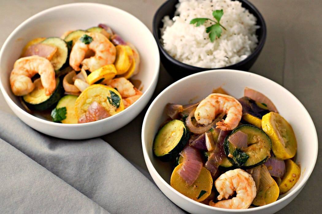 Low-Carb Skillet Garlic Zucchini Shrimp