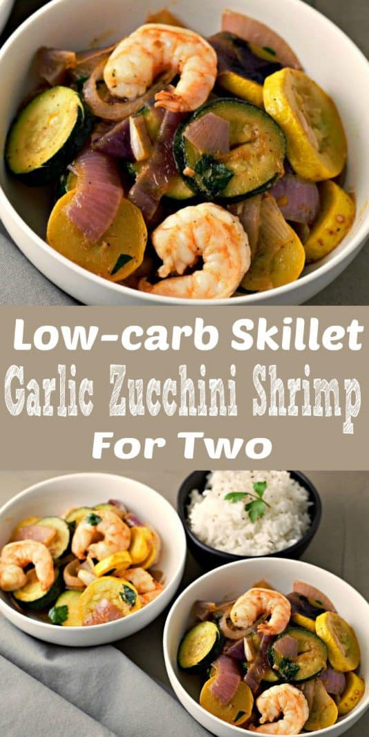 Low-Carb Skillet Garlic Zucchini Shrimp Recipe for Two