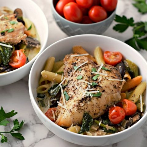 Slow Cooker Garlic Tuscan Chicken and Penne serves 2