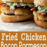 Crispy Fried Chicken Bacon Parmesan Sandwiches Recipe for Two