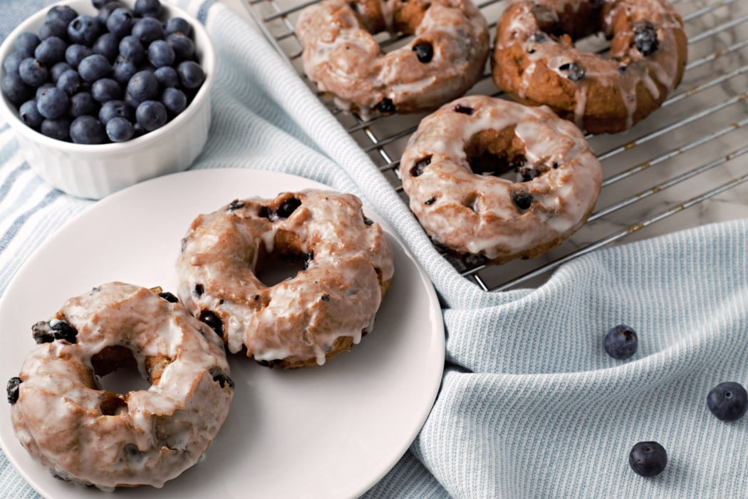 Glazed Blueberry Cake Donuts