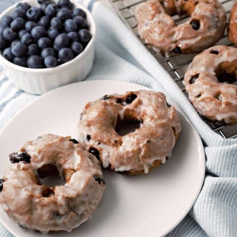 Glazed Blueberry Cake Donuts Small Batch Recipe serves 2