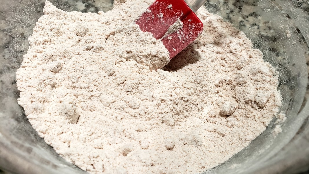 melted butter stirred into flour mixture