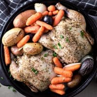 One Skillet Oven Roasted Cornish Game Hens and Veggies