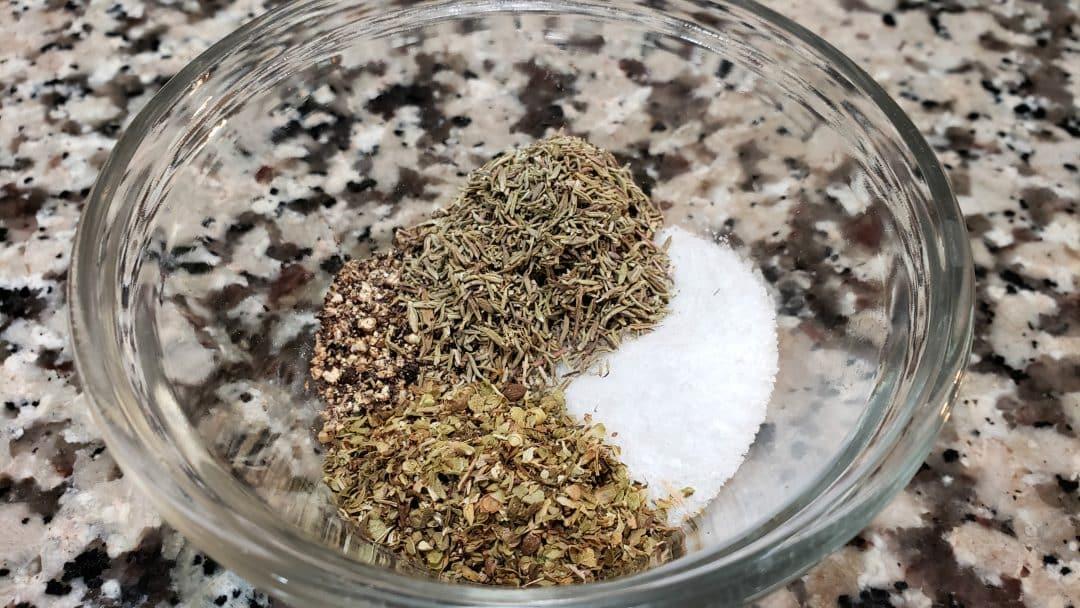 oregano, pepper, thyme and salt