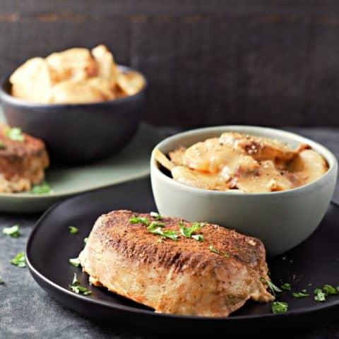Crockpot Pork Chops and Au Gratin Potatoes Recipe serves 2