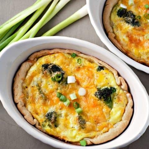 Individual Broccoli Cheese Quiche serves 2