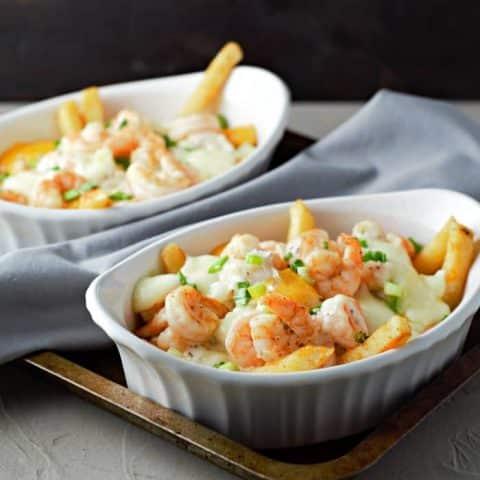 Parmesan Basil Shrimp Poutine Recipe serves 2