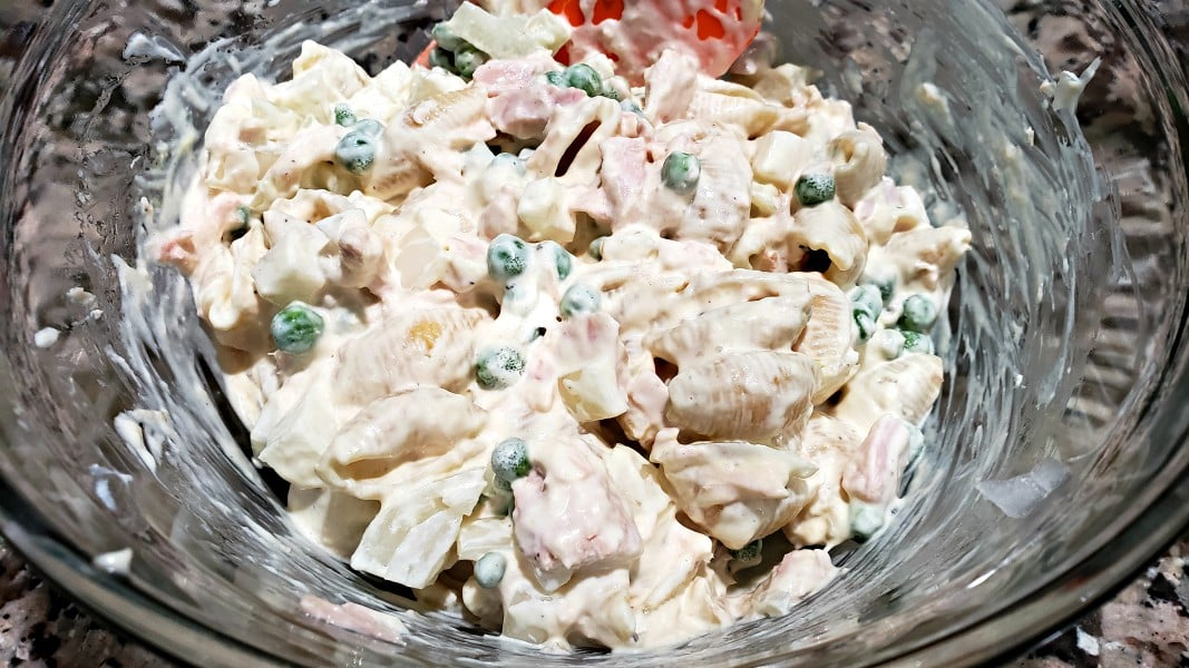 old fashioned tuna macaroni pasta salad mixed in a bowl
