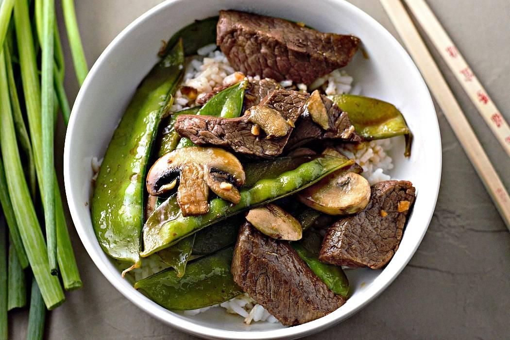 Asian Beef Mushrooms and Snow Peas Stir Fry