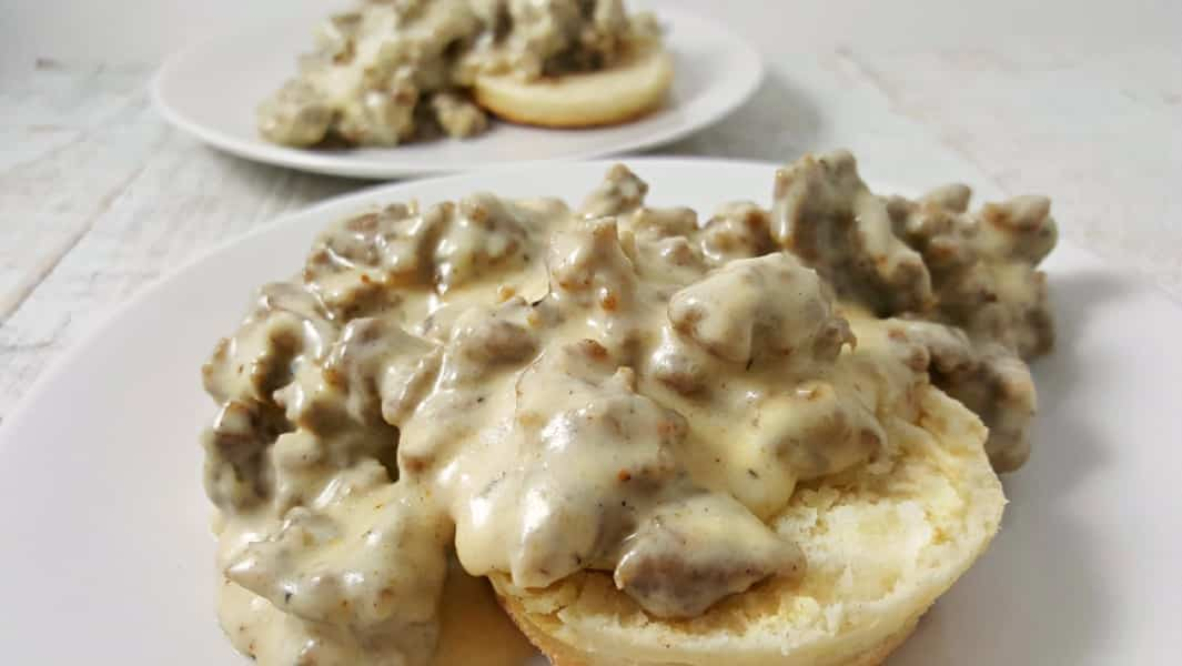 Easy Sausage Gravy and Homemade Biscuits