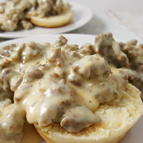 Easy Sausage Gravy and Homemade Biscuits Recipe serves 2