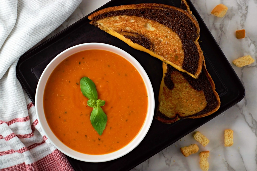 Homemade Garden Fresh Tomato Soup and grilled cheese sandwich