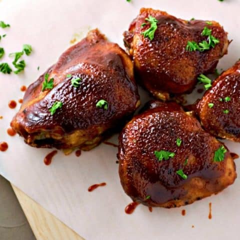 Oven Baked BBQ Chicken Thighs Recipe serves 2
