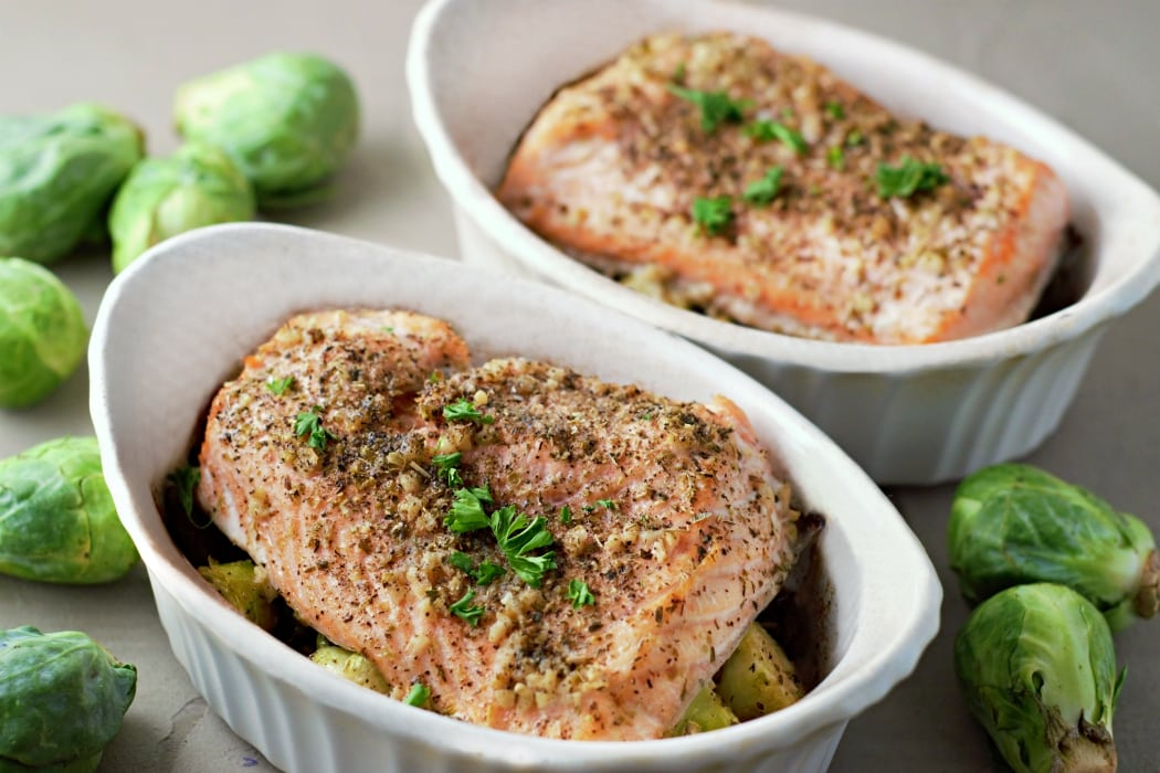Baked Garlic Salmon and Brussels Sprouts