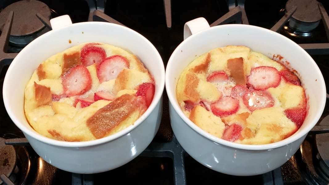 baked bread pudding in two dishes