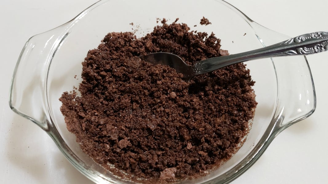 chocolate graham crumbs mixed with butter