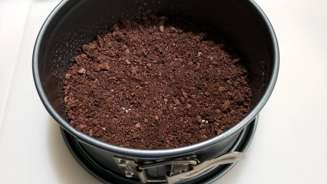chocolate graham crumb mixture pressed into a springform pan