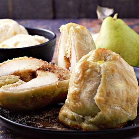 Puff Pastry Cinnamon Baked Pears Recipe serves 2