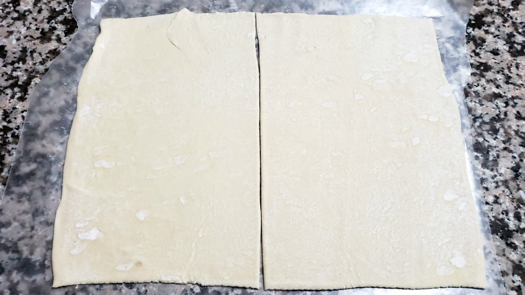puff pastry sheet cut in half down the middle