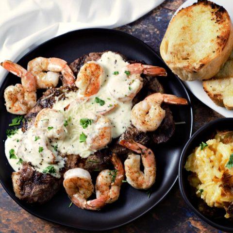 Ribeye Steak and Shrimp with Parmesan Sauce serves 2
