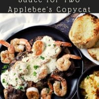 Ribeye Steak and Shrimp with Parmesan Sauce for Two