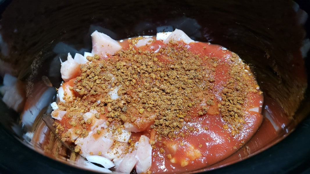 spice mixture added to crockpot