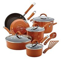 Rachael Ray Cucina Hard Enamel Nonstick 12-piece Cookware Set (Pumpkin Orange)