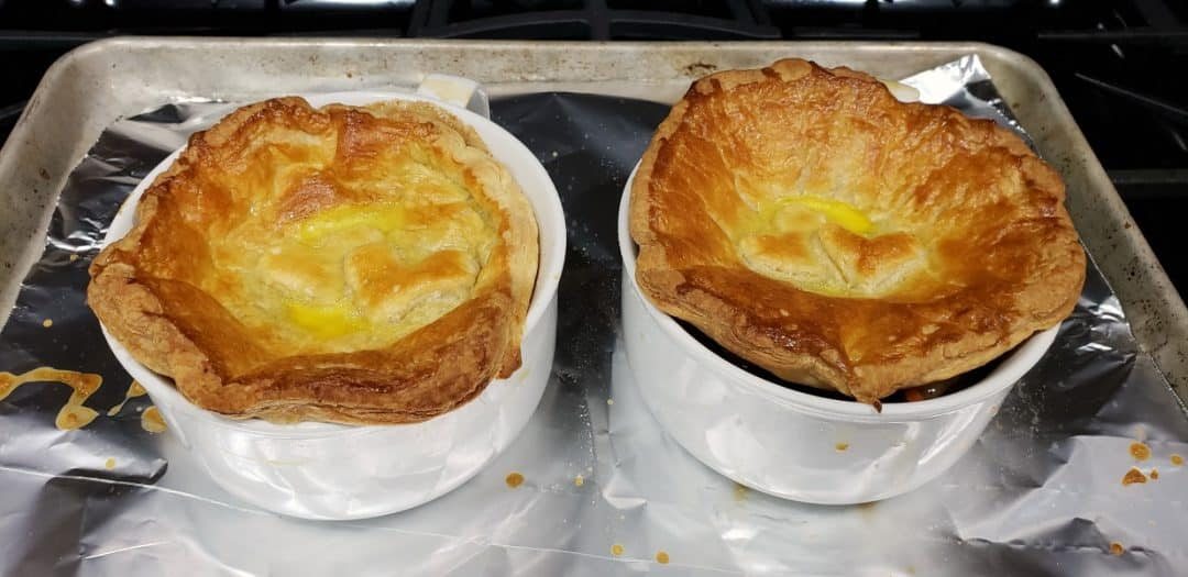 two baked beef pot pies
