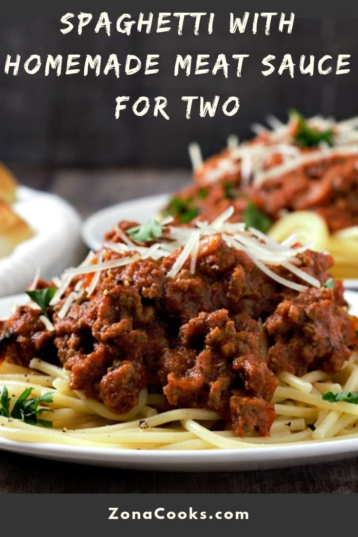 Spaghetti with Homemade Meat Sauce Recipe for Two